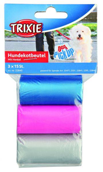 Dog Pick Up Hundekotbeutel mit Henkeln M, 3 Rollen à 15 St., sortiert