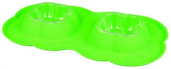 Doppelnapf-Set, Näpfe mit Silikon-Spritzschutz 0,2 l/42 × 23 cm
