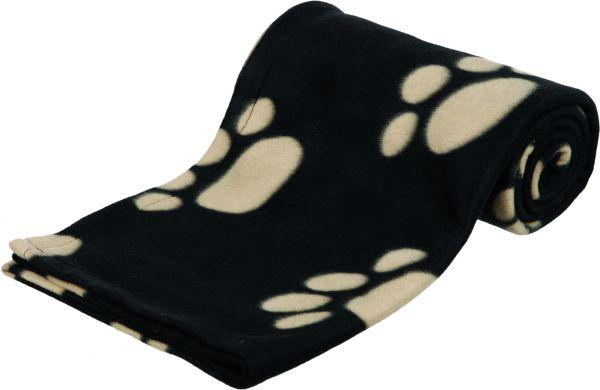 Fleecedecke Barney, 150×100cm, schwarz mit beigen Pfoten