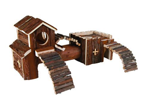 Frida XL Hamster-/Degutunnel, Naturholz, 47×22×15 cm
