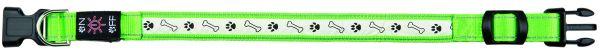 Flash Leuchthalsband USB S-M: 30-40 cm/25 mm, grün