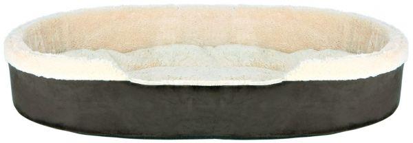 Bett Cosma, 100 × 75 cm, dunkelbraun/beige