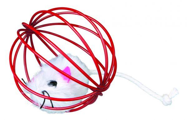 24 Plüschmäuse im Gitterball, ø 6 cm