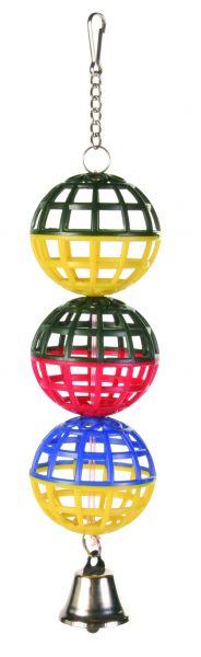 3er Gitterball, Kette und Glocke, ø 4,5 cm/16 cm