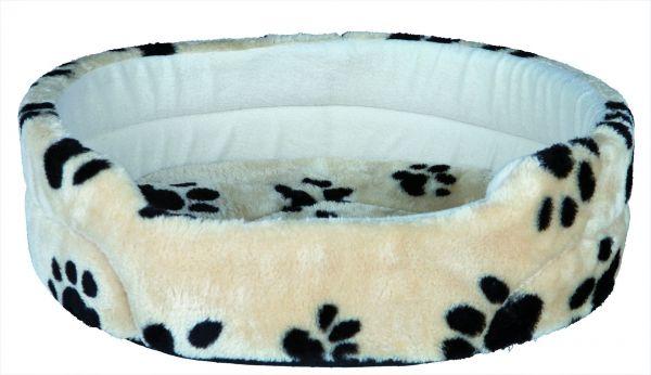 Hundebett Charly, 70×62 cm, beige mit Pfoten