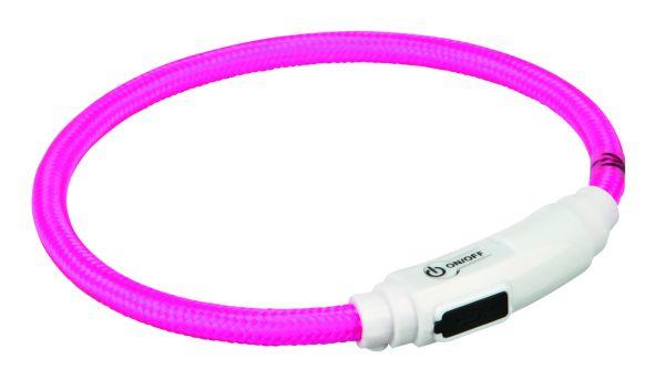 Flash Leuchtring USB für Katzen 35 cm/ø 7 mm, pink