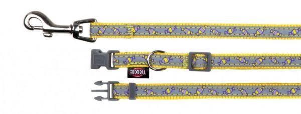 Halsband mit Leine XS-S: 22-33 cm/10 mm, 1,20 m, gelb