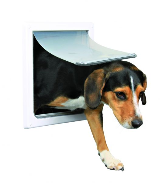 2-Wege Freilauftür für Hunde S-M: 30 × 36 cm, weiß