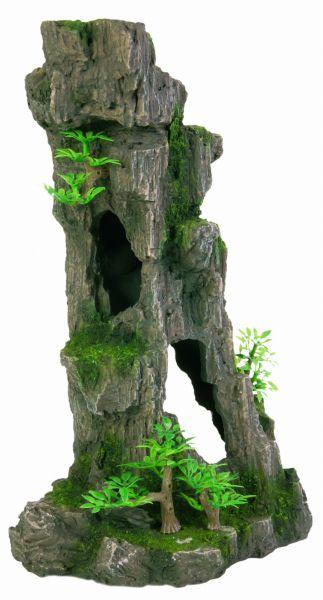Fels mit Höhle/Pflanzen, stehend, 28 cm