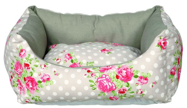 Bett Rose 45 × 40 cm, taupe/weiß