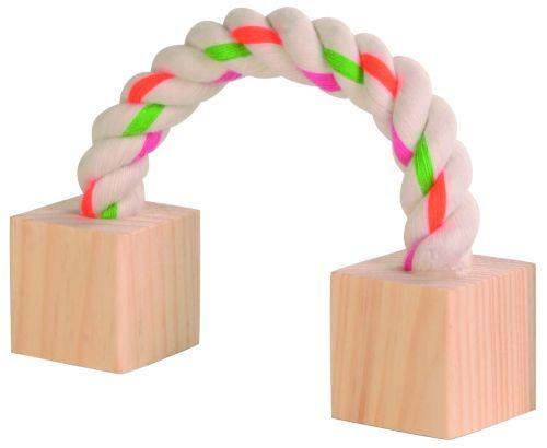 Baumwollspielseil mit Holz für Kleintiere, 20 cm