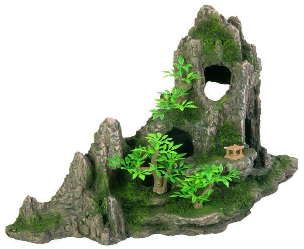 Felsformation mit Höhle/Pflanzen, 27 cm
