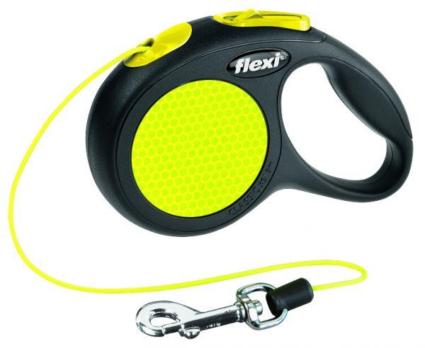 flexi New CLASSIC Neon, Seil XS: 3 m, schwarz/neon