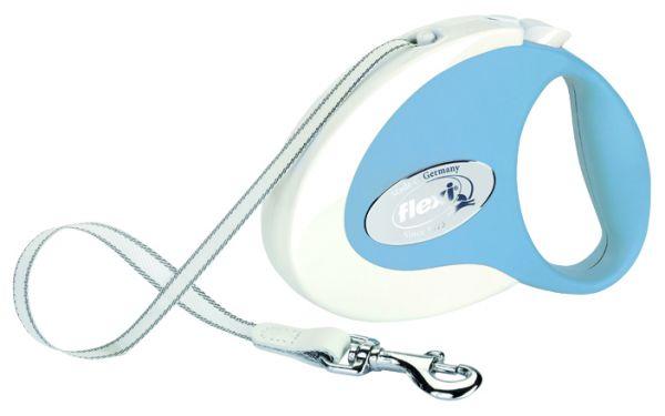 flexi COLLECTION, Gurt S: 3 m, weiß/hellblau
