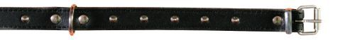 Basic Leder Halsbänder, Nieten, 38-48 cm/22 mm, schwarz