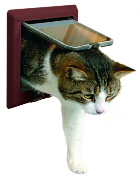 FreeCat de Luxe Katzentür, 4-Wege, mit Tunnel, braun
