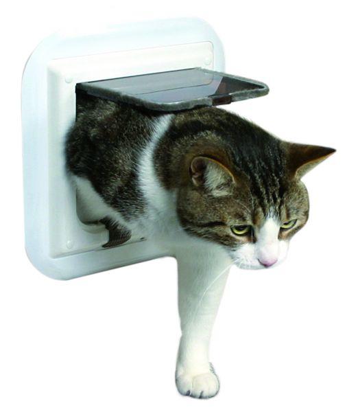 FreeCat de Luxe Katzentür, 4-Wege, für Glastüren, weiss