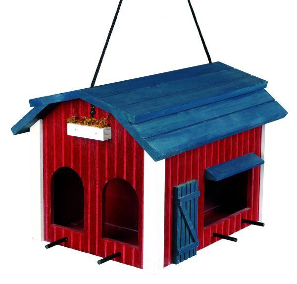 Futterhaus Scheune, Holz 24 × 22 × 32 cm, rot