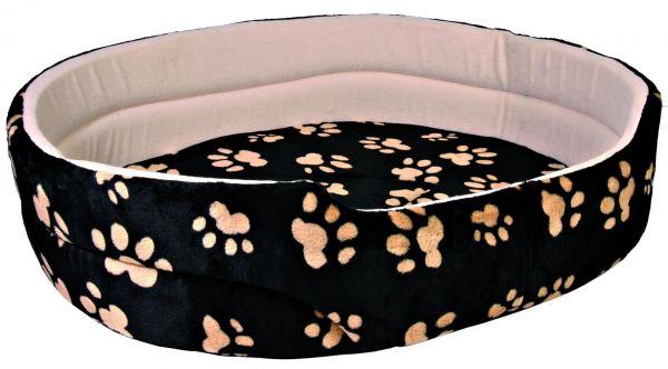 Hundebett Charly, schwarz mit Pfoten, 79x70 cm
