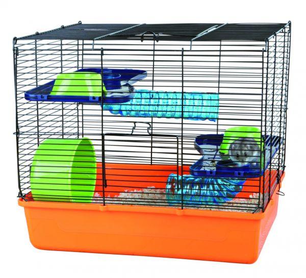 Hamsterkäfig mit Grundausstattung 40 × 38 × 30 cm, orange/blau/grün