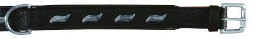 Active Halsband, Leder, Wellenbeschlag, schwarz, 37-44 cm/25 mm