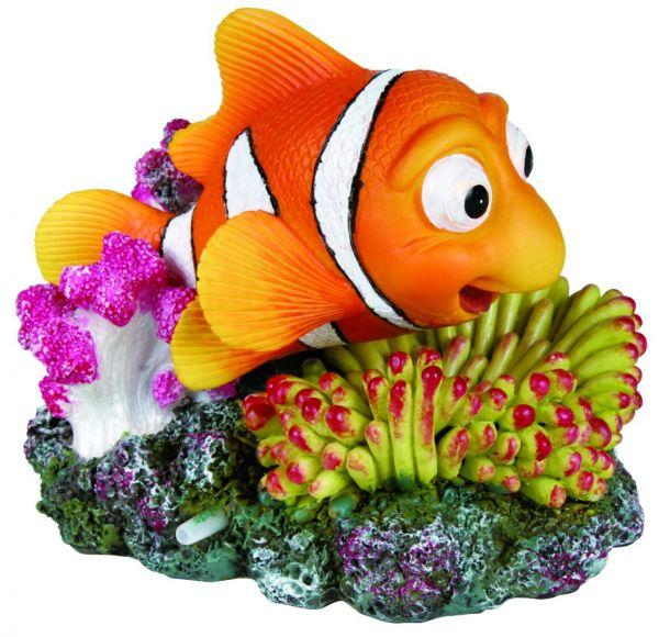 Clownfisch mit Koralle, Luftpumpenanschluss, 12 cm