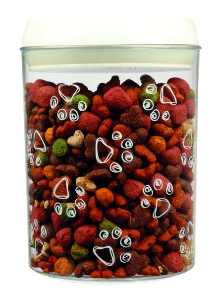Futter- und Snackdose, Kunststoff 1,5 l/ø 12 × 17,5 cm, transparent/weiß