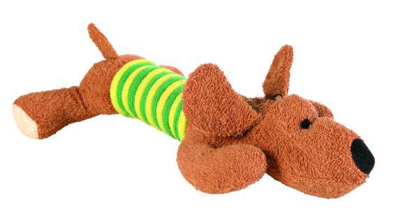 Hund, Frottee, mit Seil, 28 cm