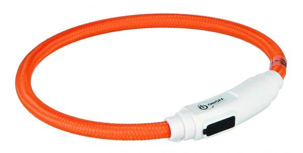 Flash Leuchtring USB für Katzen 35 cm/ø 7 mm, orange