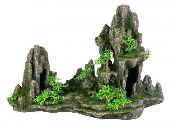 Felsformation mit Höhle/Pflanzen, 45 cm