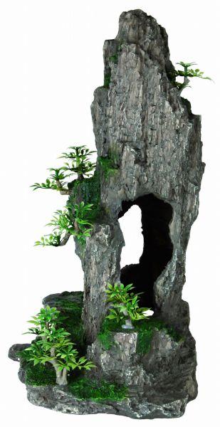 Fels mit Höhle/Pflanzen, stehend, 37 cm