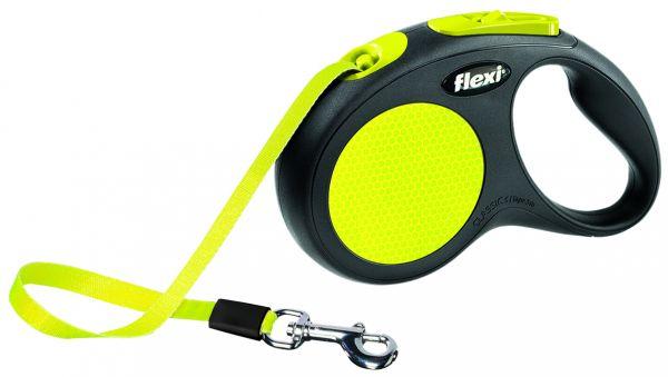 flexi New CLASSIC Neon, Gurt S: 5 m, schwarz/neon