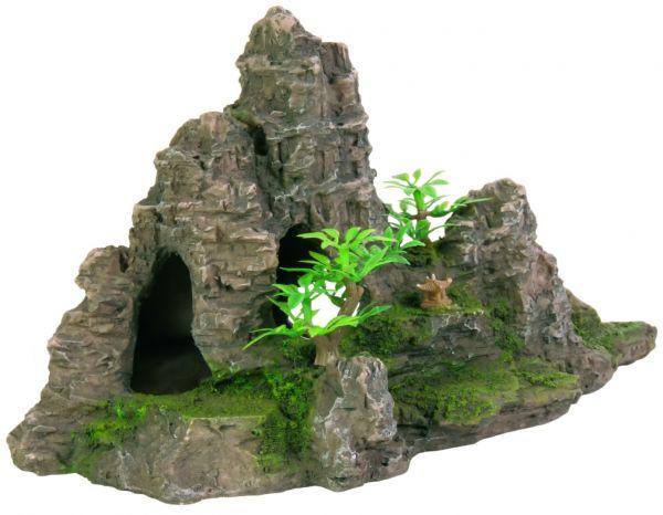 Felsformation mit Höhle/Pflanzen, 22 cm