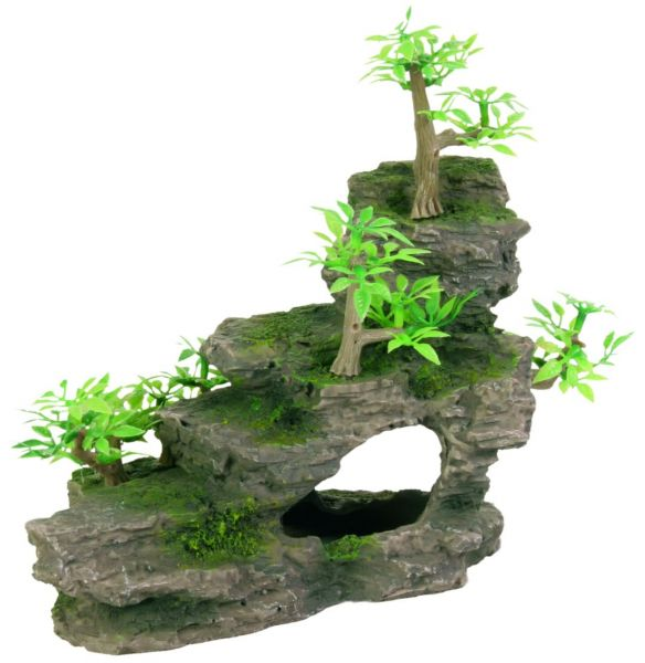 Felsentreppe mit Pflanzen, 19 cm